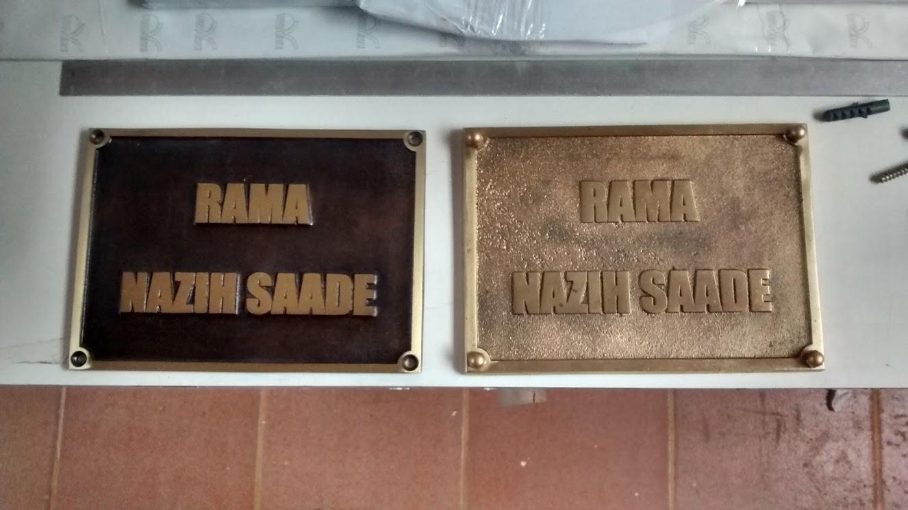 Placas de bronze e alum nio fundido cria o de placas no - Placas de aluminio ...